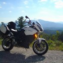 Motorcycle with Roan Mountain as background