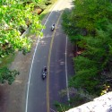 Riders passing through Backbone Rock
